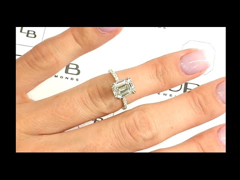 220 carat Emerald Cut Diamond Engagement Ring in Micropave Band
