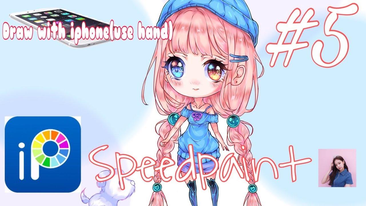 #5luvibispaintX:Cutee cách mình vẽ chibi trên ibispainx(iphone)how i draw chibi on ibispain use hand