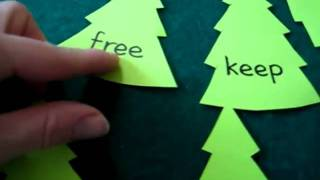 Christmas. Reading and phonics and spelling game: learn ee sound with Christmas trees.