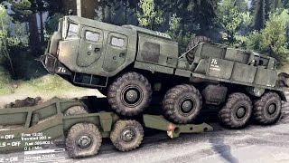 SPINTIRES 2014 - The Coast Map - Loading the MAZ-7310 on a Trailer