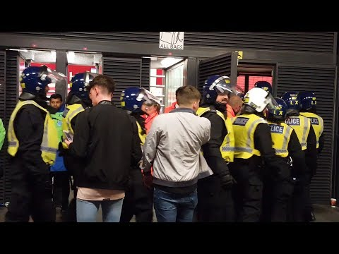 Arsenal v FC Cologne - Riot Police Enter Emirates Stadium