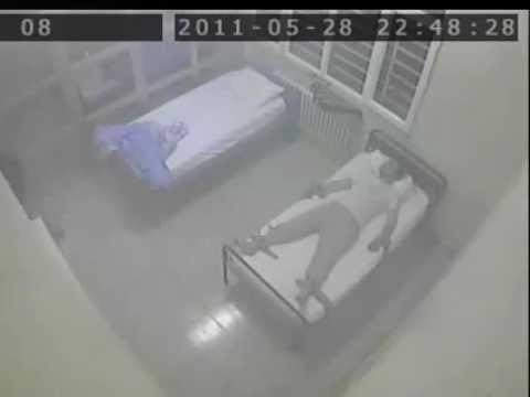 schizophrenic patient attacks sleeping man in a mental hospi