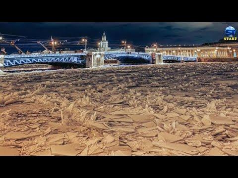 تجمد نهر نيفا ، سانت بطرسبرغ ، روسيا