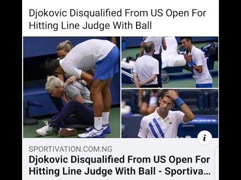 Djokovic Disqualification Default Us Open 2020 Novak Djokovic Disqualification Us Open 2020 Youtube
