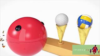 Learn Colours - Cream And Learn Sports ball With Colourful Colour Song For Children Rhymes.