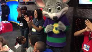 Benjamin singing happy birthday at Chuck E Cheese