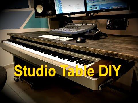 DIY Steel studio table with keyboard drawer. sound studio table.