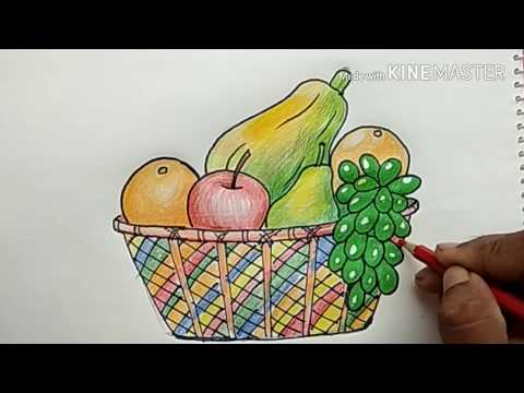 Haw To Draw And Color A Fruit Basket(Very Easy)
