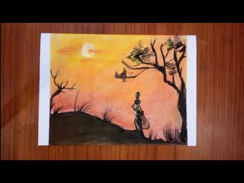 Soft Pastels Drawing Of Dramatic Scenery | Lonely Woman With Night Sky Landscape