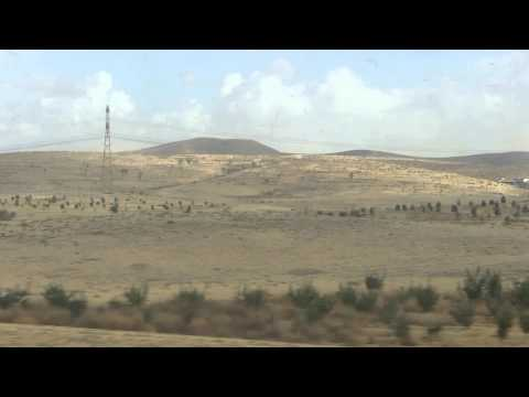 View of Northern Negev Desert, Israel as seen from the train to Beersheba