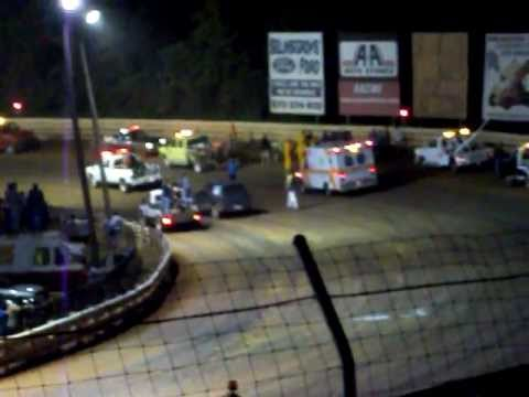 Pat Cannon flip / runaway fire extinguisher 6,25,11 at Selinsgrove speedway