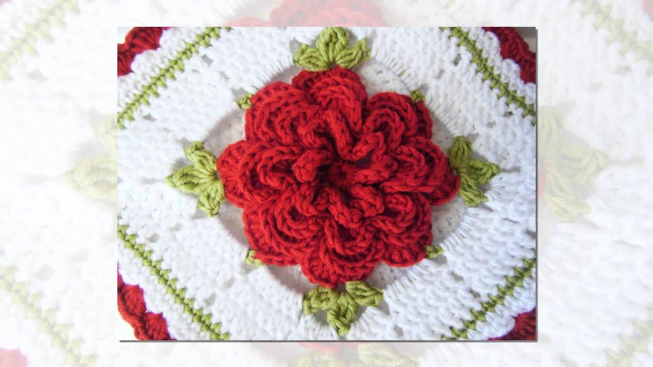 how to crochet crocodile stitch flower - YouTube