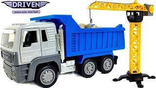 DRIVEN CONSTRUCTION CRANE PLAY SET WITH LIGHTS AND SOUNDS EXCLUSIVE DUMP TRUCK u0026 MORE - UNBOXING