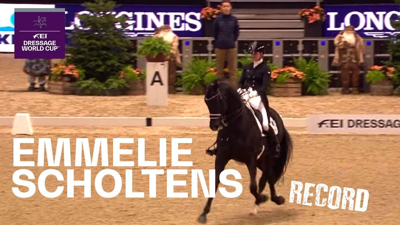 Emmelie Scholtens Desperado Record Breaking Performance In Mechelen Fei Dressage World Cup Youtube