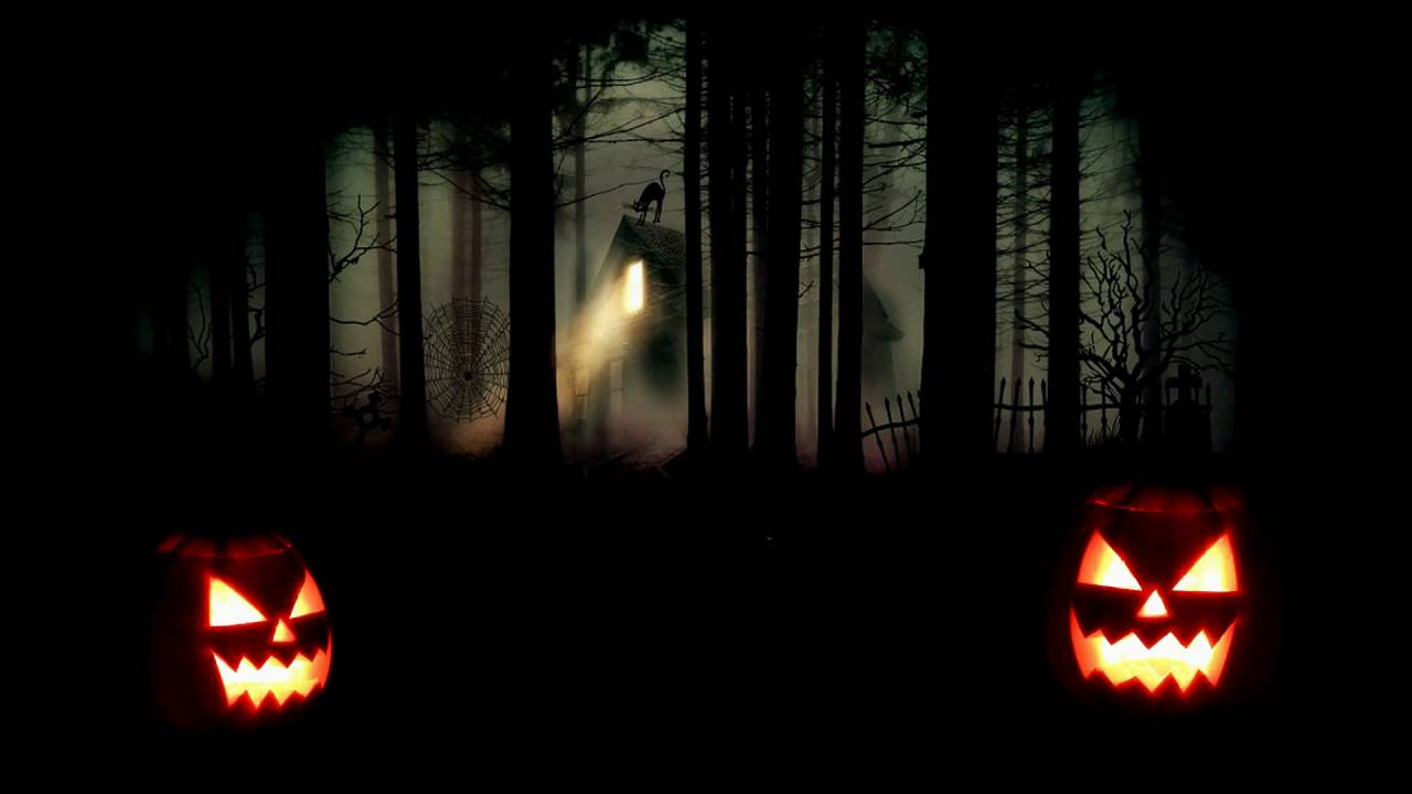 Flickering Jack O Lanterns With Creepy Forest Halloween
