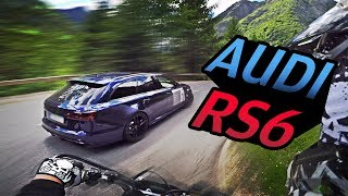 Chasing tuned Audi RS6 on small road