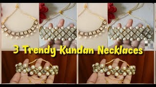 3 Party Wear Pearl Kundan Neck…
