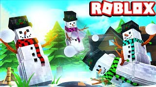 FAMILY SNOW BALL FIGHT! -- ROBLOX SNO DAY!