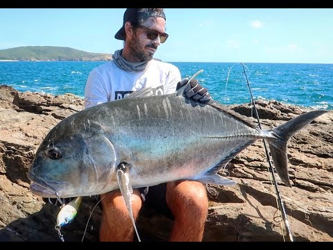 FISHING FROM SHORE ON TROPICAL ISLAND! CRAZY GT ACTION