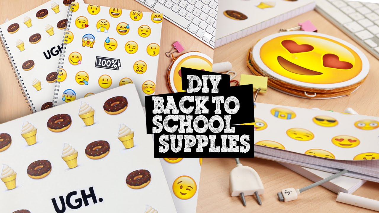 Diy notebook covers so your books and you will stand out at school - Diy Emoji Back To School Supplies Notebooks Pencil Holder Bookmark Youtube