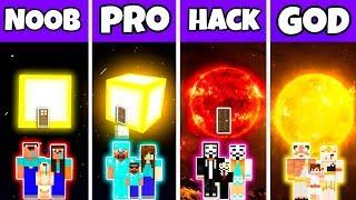Minecraft: FAMILY SUN HOUSE BUILD CHALLENGE - NOOB vs PRO vs HACKER vs GOD in Minecraft