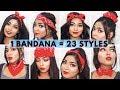 23 Different Ways to Style Bandana   DIY 1 Minute Bandana Hairstyles #bandanatutorial