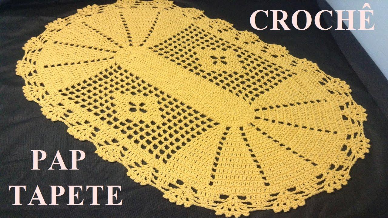 Tapete Oval Grande Para Sala Tapete Oval Cru E Amarelo With Tapete  -> Tapete De Croche Oval Simples Passo A Passo