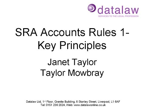 SRA Accounts Rules 1  Key Principles