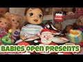 Baby Alives Open their Christmas presents from the secret Santa gifts