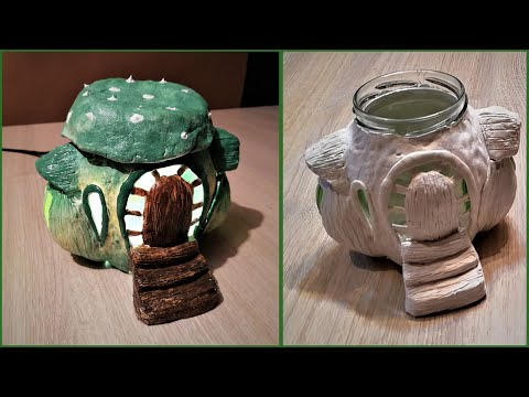 DIY Fairy house lamp using round jar