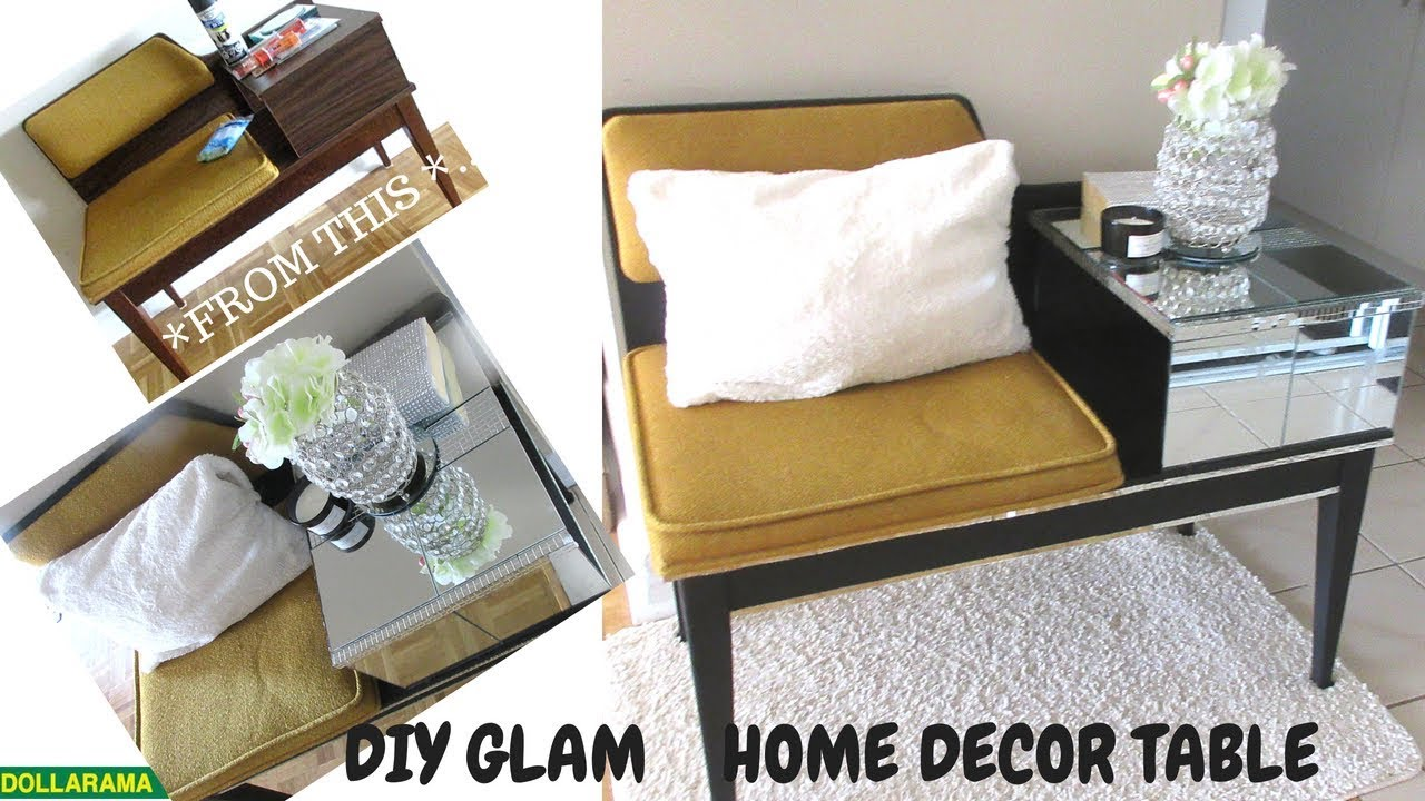 DIY GLAM BLING MIRROR TABLE MAKEOVER HOME DECOR