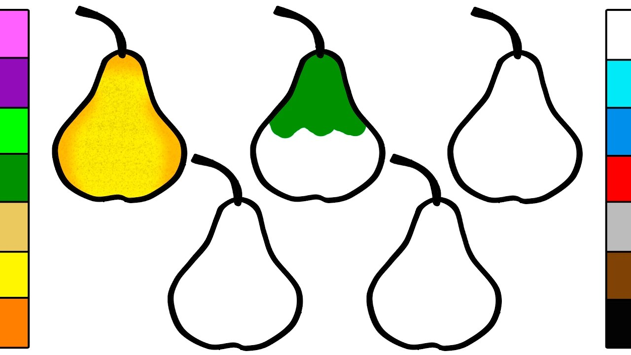 Learn Colors for Baby with Colorful Pear Coloring Pages YouTube