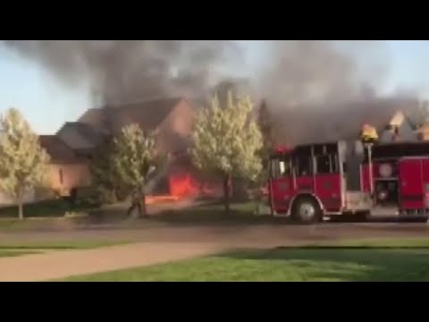 Fire rips through house after explosion in Macomb Township