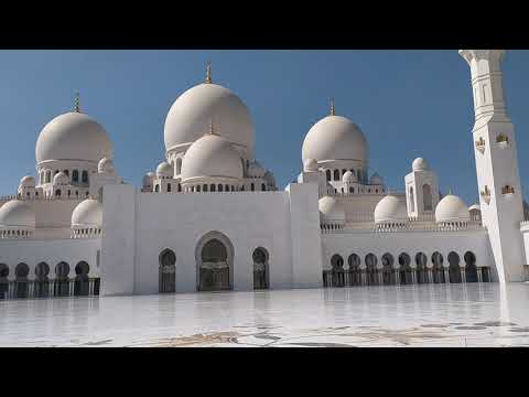 Athan in White Mosque Abu Dhabi. 15 November 2020.Sheikh Zayed Grand Mosque.