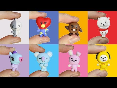 How to DIY ALL BTS BT21 Characters Polymer Clay Tutorial