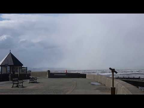 Llanfairfechan Promenade panorama on a stormy day 17.3.18