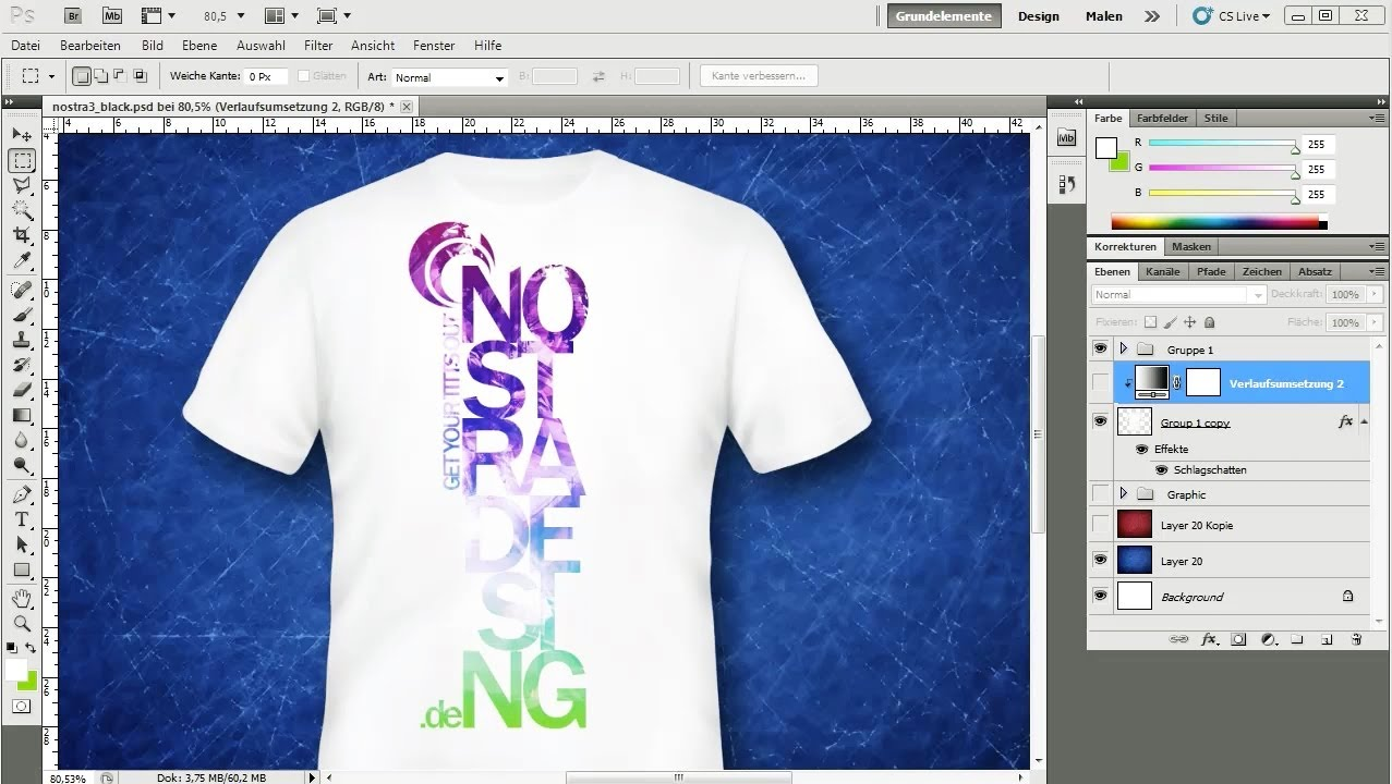 Adobe photoshop tutorial t shirt design nico m ller for How to copyright at shirt design