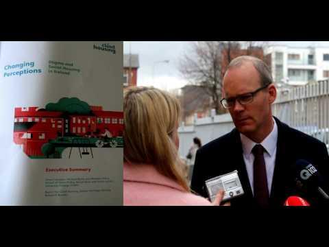 Simon Coveney talks of removing Stigma associated with Social Housing.