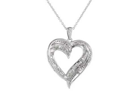 1a1273cd6aa Sterling Silver Diamond Heart Pendant Necklace (1 2 cttw)