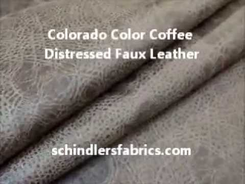 Colorado Color Coffee Distressed Faux Leather Upholstery Fabric