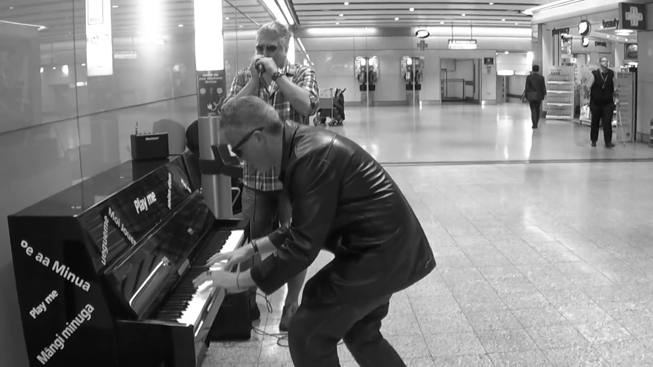 Harmonica and Piano Blues Jam at the Airport