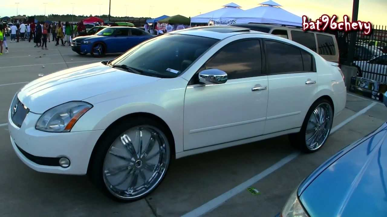 Pearl White Nissan Maxima On 26 Quot Davin Ss6 Spinners