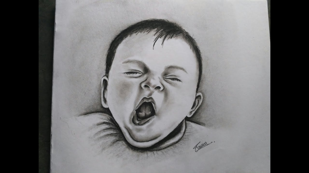 How to draw realistic yawning baby with charcoal drawing of baby kid realistic baby drawing