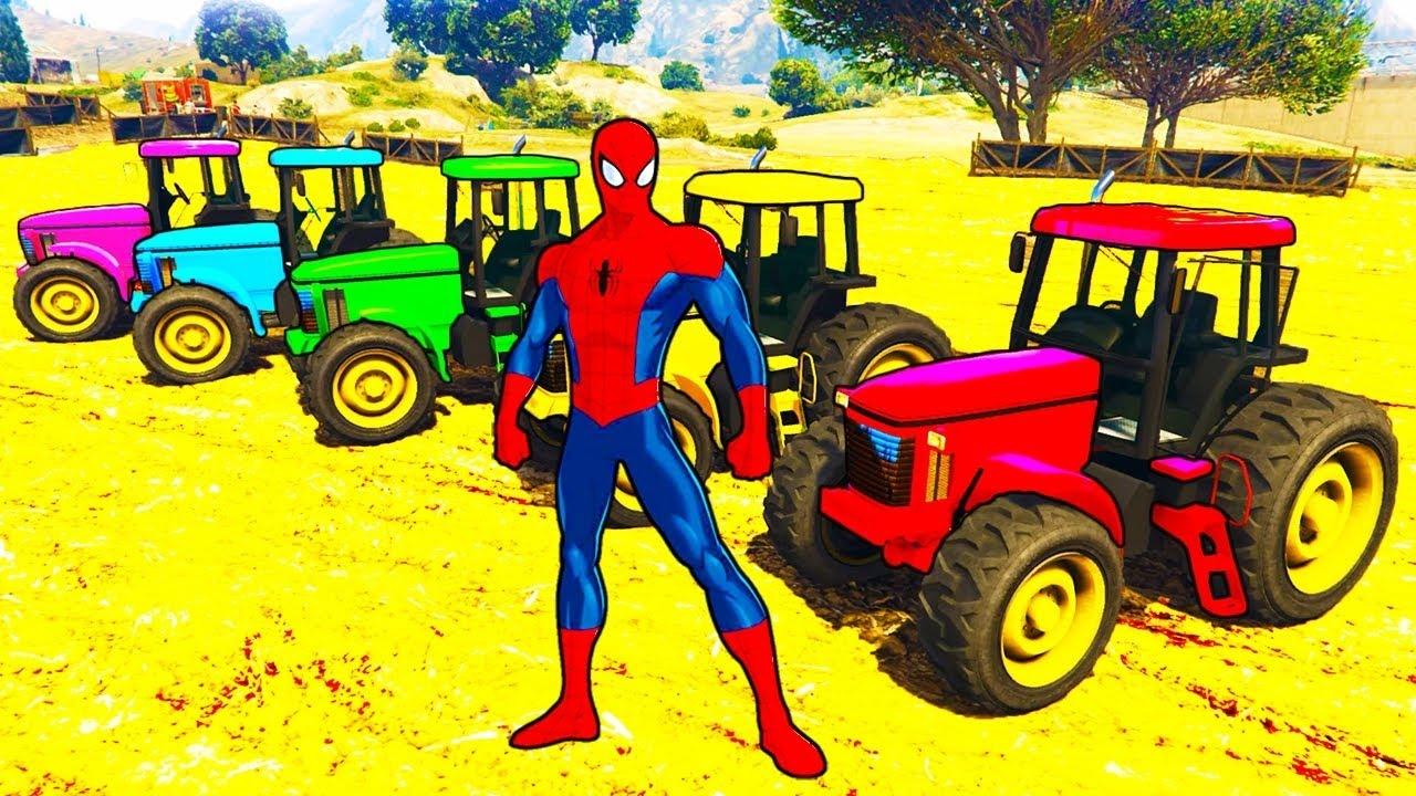 Apprendre la couleur avec des tracteurs dessin anim de voitures de spiderman pour les youtube - Spiderman dessin anime gratuit ...