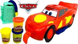 disney pixar cars rayo mcqueen play doh playset con figura de macuin gasolinera y rodillo