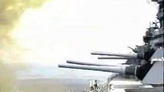USS WISCONSIN BATTLESHIP 16IN GUNFIRE