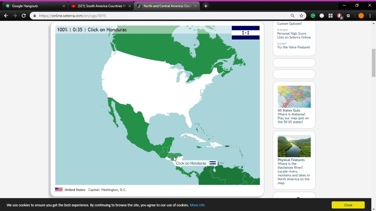 North and Central America Countries Map Quiz Game Google Chrome 12 ...