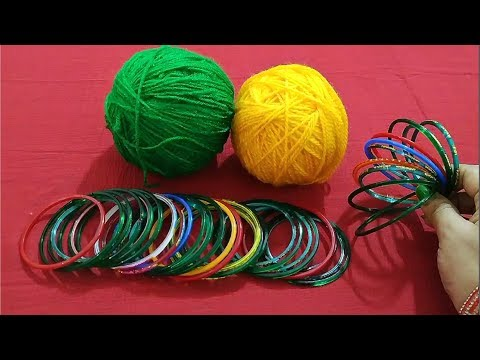 Best Home Decor Idea Out Of Waste Bangles and Wool | New Craft Idea Out Of Waste