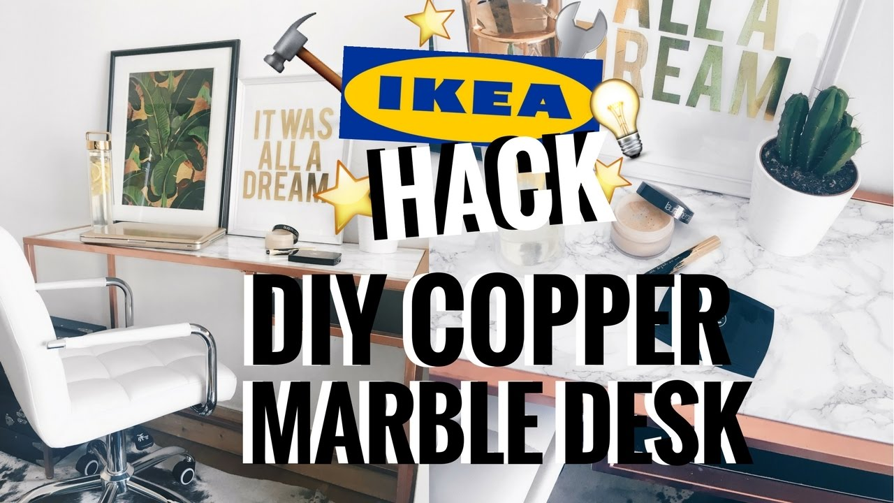 Ikea Hack Diy Marble Amp Copper Rose Gold Desk Ciara O