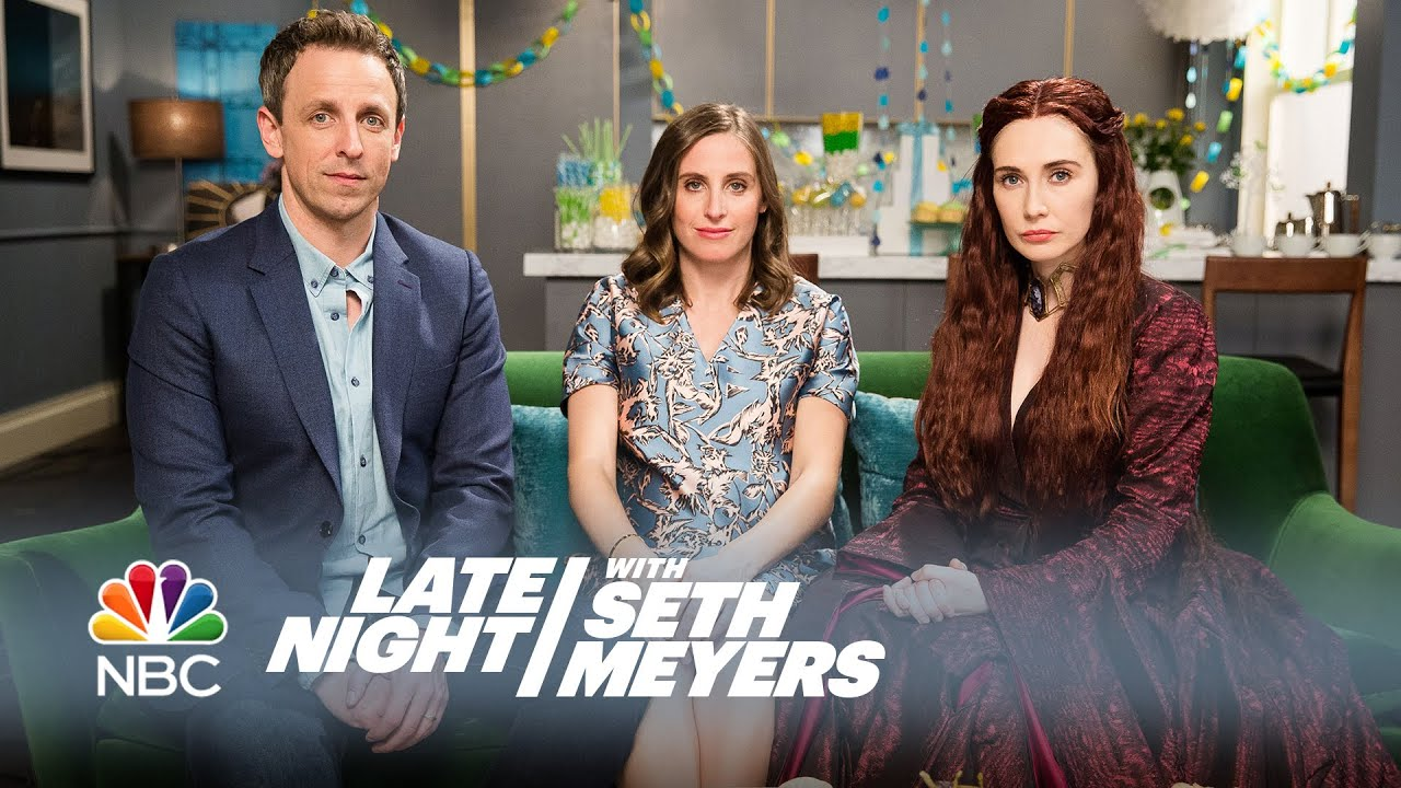 Melisandre at a Baby Shower Late Night with Seth Meyers